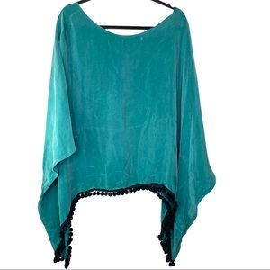 For Love & Lemons Shawl Blouse with PomPoms Silk M
